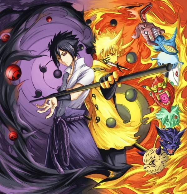 Gambar Poster Naruto Wallpaper vs Sasuke Uchiha
