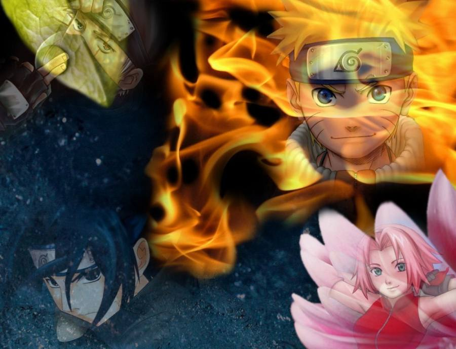 Gambar Poster Wallpaper Naruto Sasuke Sakura Kakashi Lampu Kecil