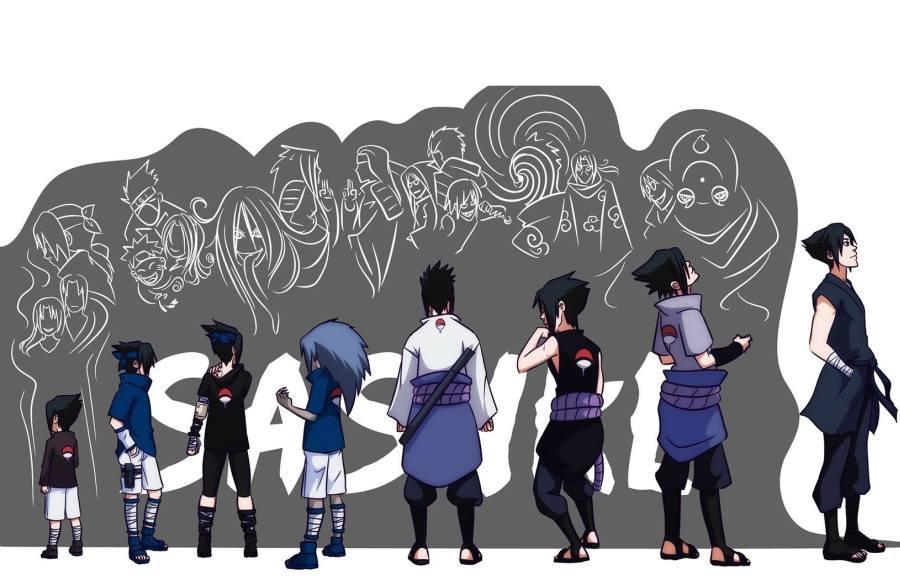 Gambar Poster Wallpaper Naruto Sasuke Uchiha Evolution Lampu Kecil