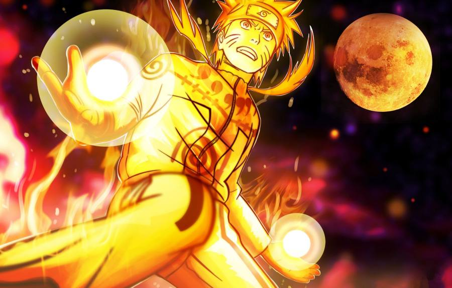 Gambar Wallpaper Poster Naruto Kyuubi Rasengan Lampu Kecil