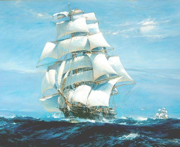 White ship vintage ship
